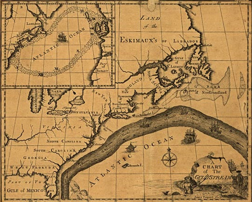 Franklin's original map of the Gulf Stream.