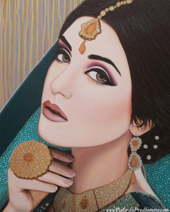 viridianindianbeauty-beforegems-acrylicpainting-portraitartist-malindaprudhomme