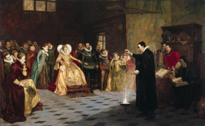 Dr. John Dee performing an experiment before Queen Elizabeth
